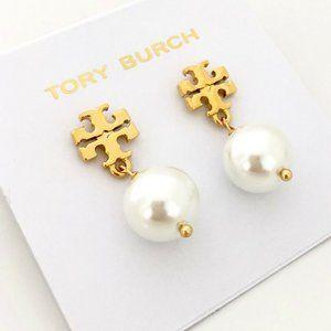 Tory Burch Gold Logo White Crystal Pearl Earrings